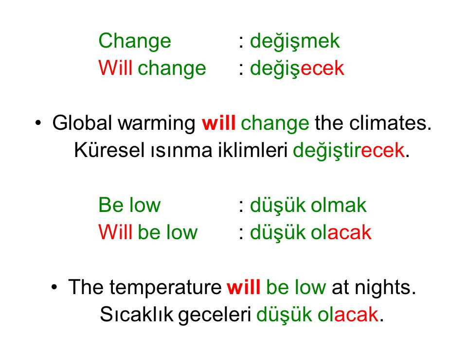 Will change : değişecek Global warming will change the climates.