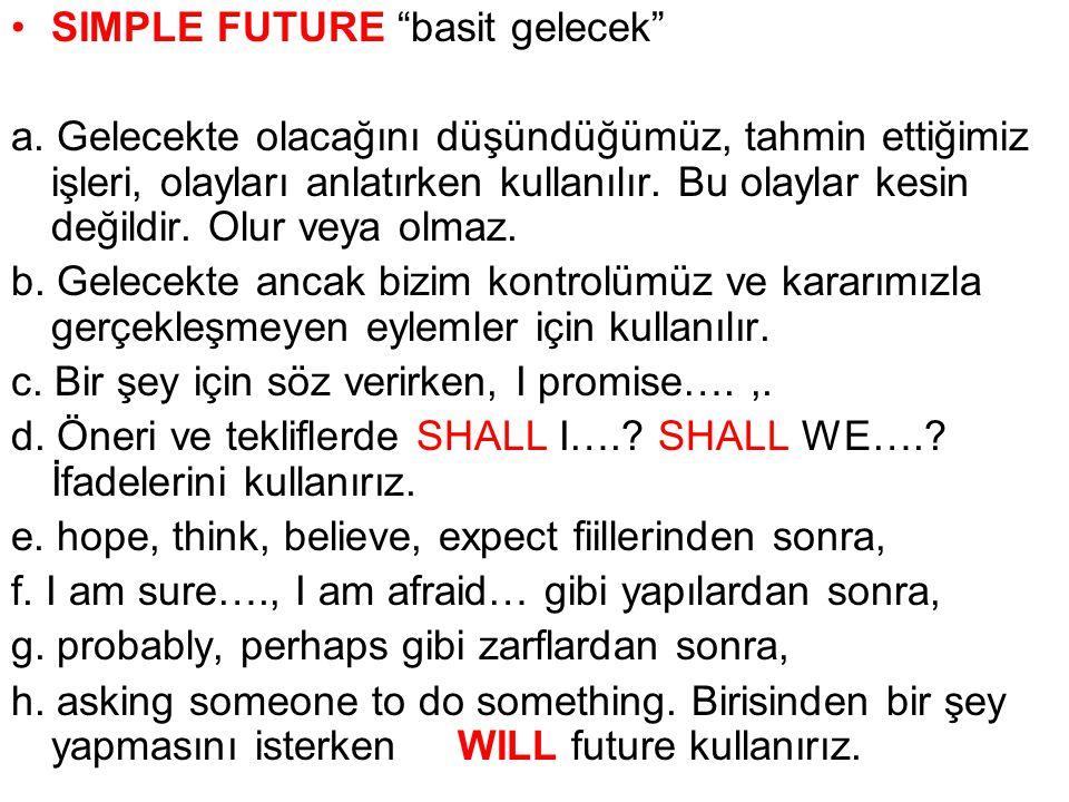 SIMPLE FUTURE basit gelecek