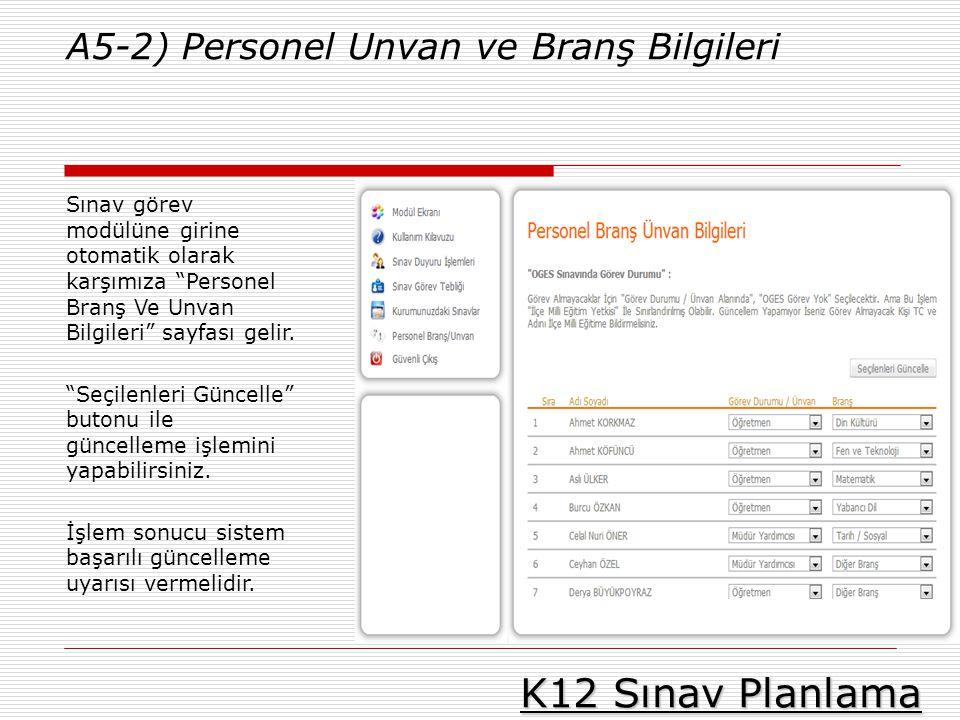 K12 Sınav Planlama A5-2) Personel Unvan ve Branş Bilgileri