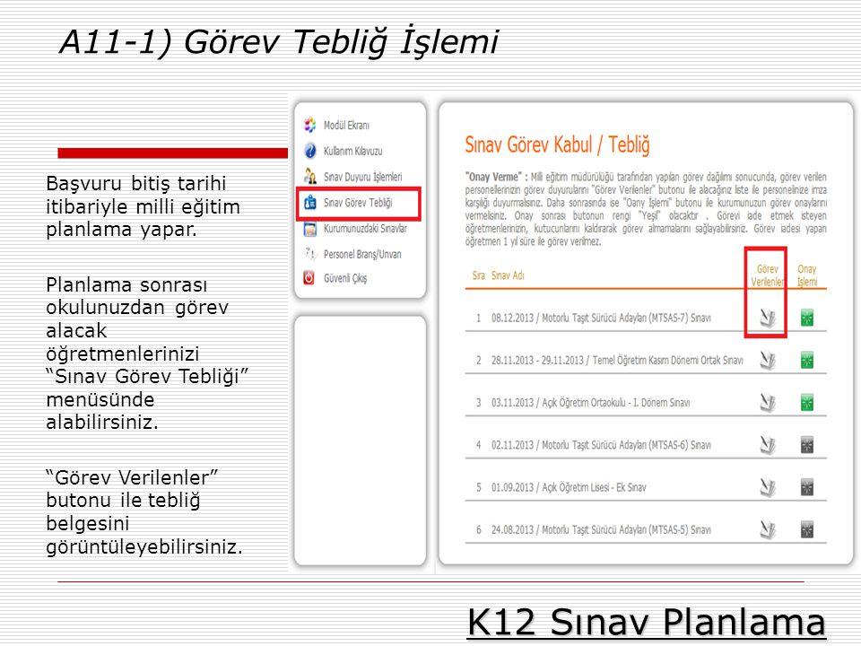 K12 Sınav Planlama A11-1) Görev Tebliğ İşlemi