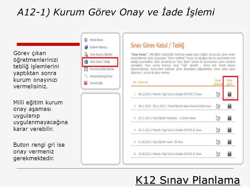 K12 Sınav Planlama A12-1) Kurum Görev Onay ve İade İşlemi