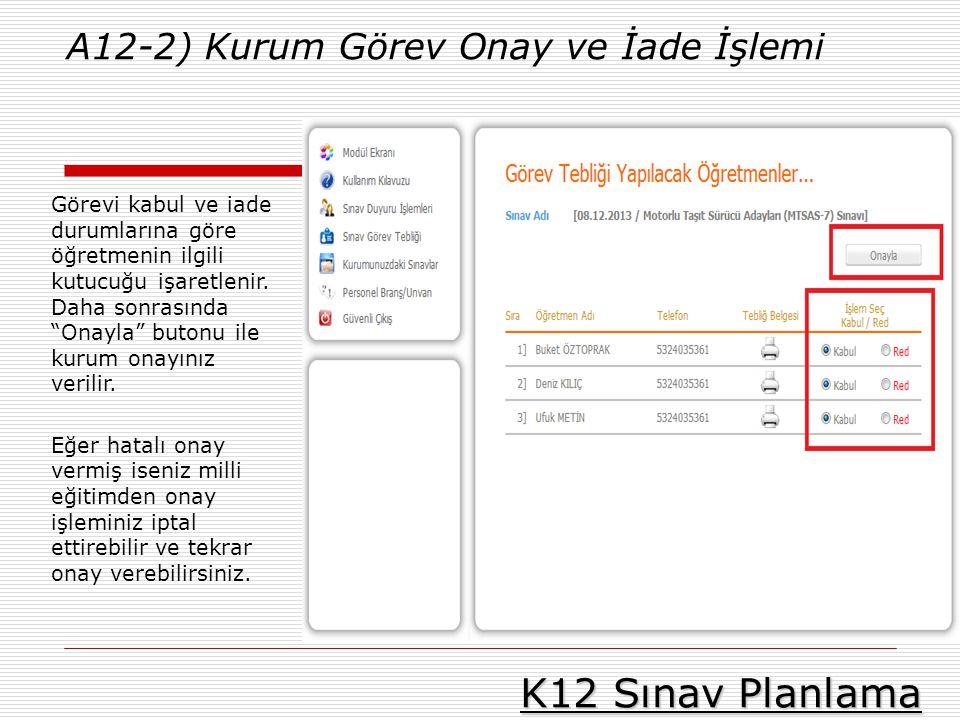 K12 Sınav Planlama A12-2) Kurum Görev Onay ve İade İşlemi