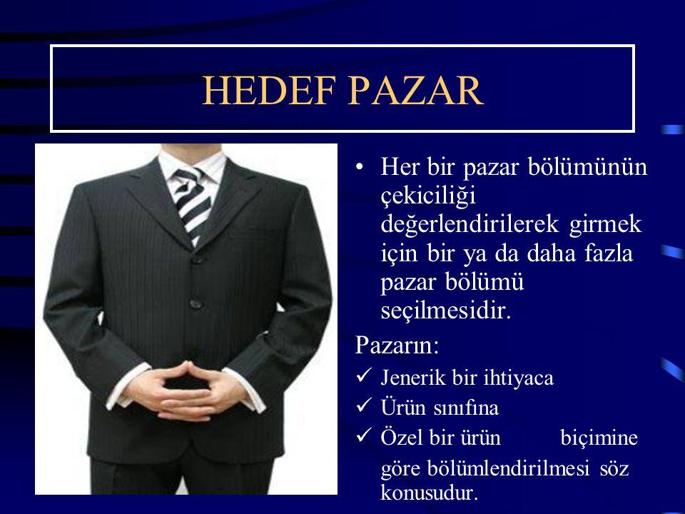 HEDEF PAZAR Her bir pazar bölümünün çekiciliği değerlendirilerek girmek için bir ya da daha fazla pazar bölümü seçilmesidir.