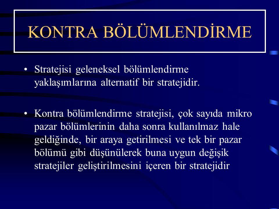 KONTRA BÖLÜMLENDİRME Stratejisi geleneksel bölümlendirme yaklaşımlarına alternatif bir stratejidir.
