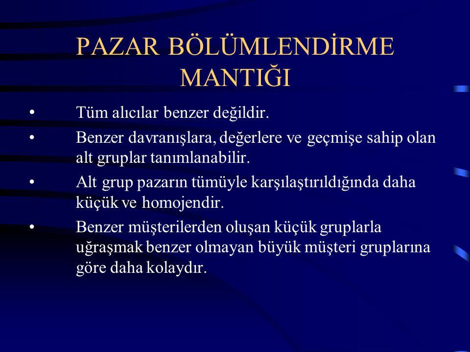 PAZAR BÖLÜMLENDİRME MANTIĞI