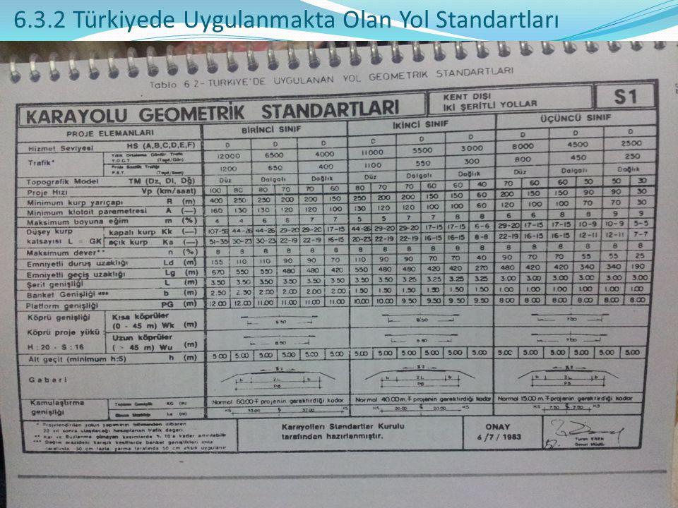 6.3.2 Türkiyede Uygulanmakta Olan Yol Standartları