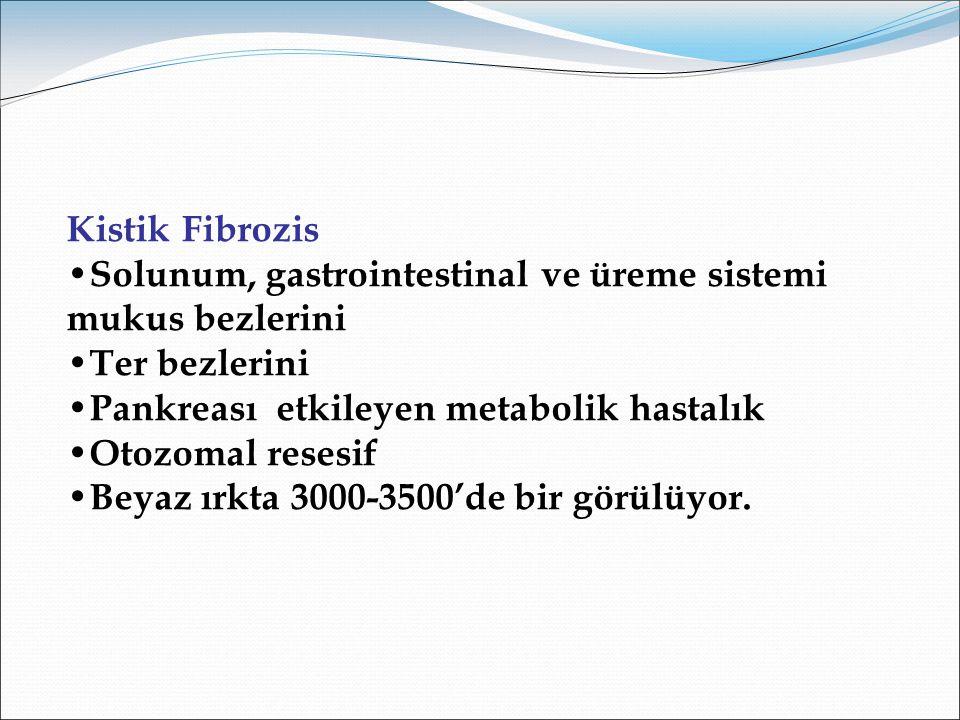 Kistik Fibrozis Solunum, gastrointestinal ve üreme sistemi mukus bezlerini. Ter bezlerini. Pankreası etkileyen metabolik hastalık