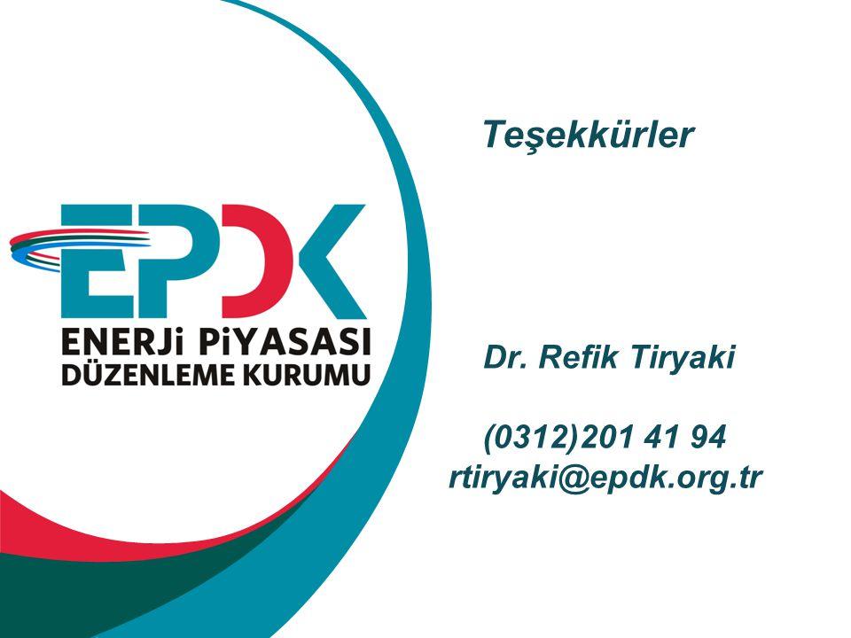 Teşekkürler Dr. Refik Tiryaki (0312)201 41 94 rtiryaki@epdk.org.tr