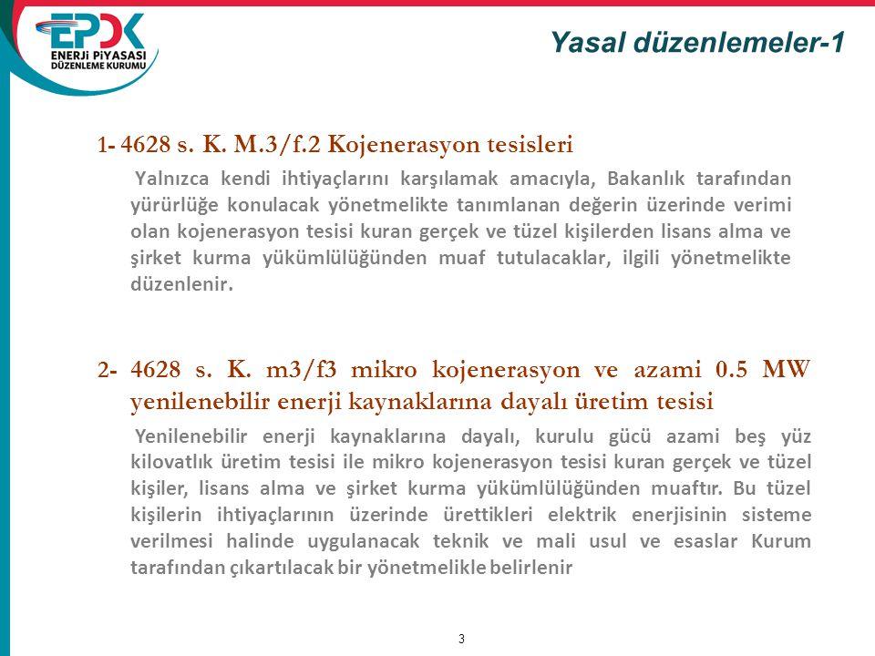 Yasal düzenlemeler-1 1- 4628 s. K. M.3/f.2 Kojenerasyon tesisleri