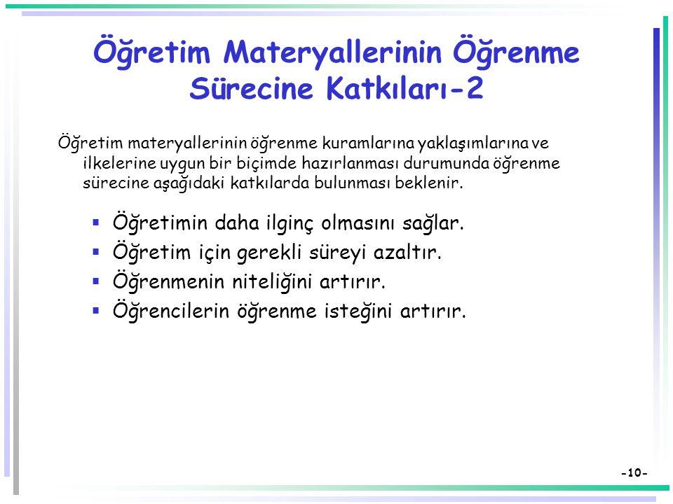 Öğretim Materyallerinin Öğrenme Sürecine Katkıları-2