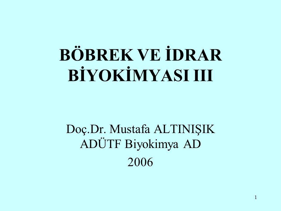 BÖBREK VE İDRAR BİYOKİMYASI III