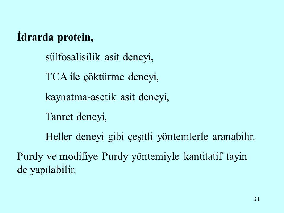 İdrarda protein, sülfosalisilik asit deneyi, TCA ile çöktürme deneyi, kaynatma-asetik asit deneyi,
