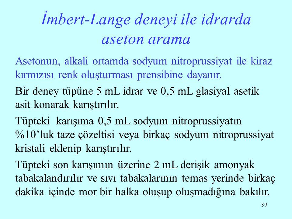 İmbert-Lange deneyi ile idrarda aseton arama