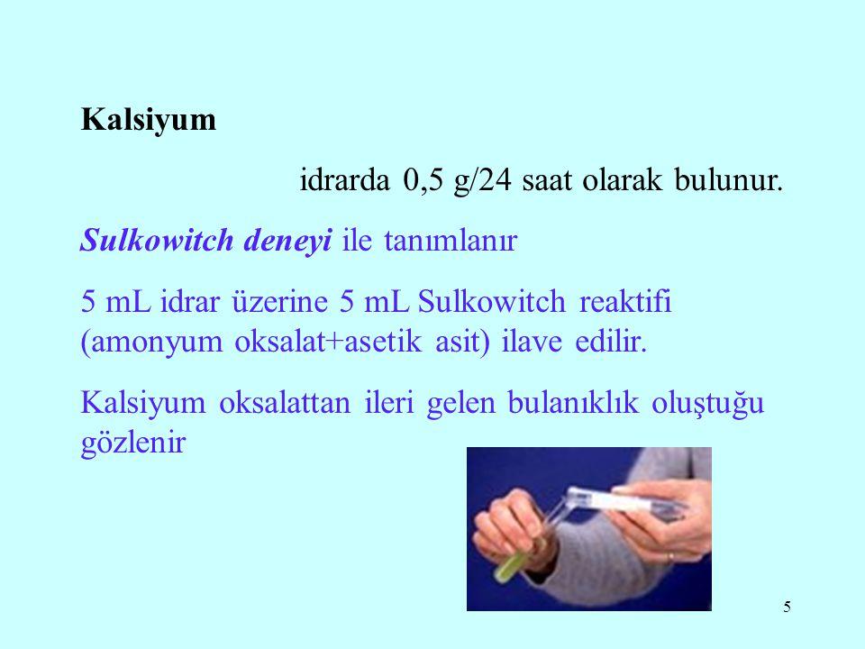 Kalsiyum idrarda 0,5 g/24 saat olarak bulunur. Sulkowitch deneyi ile tanımlanır.