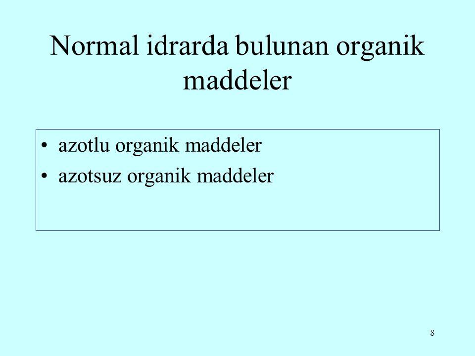 Normal idrarda bulunan organik maddeler