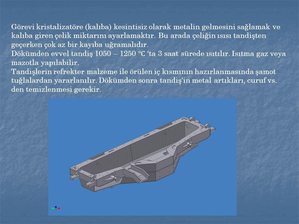 Görevi kristalizatöre (kalıba) kesintisiz olarak metalin gelmesini sağlamak ve kalıba giren çelik miktarını ayarlamaktır.