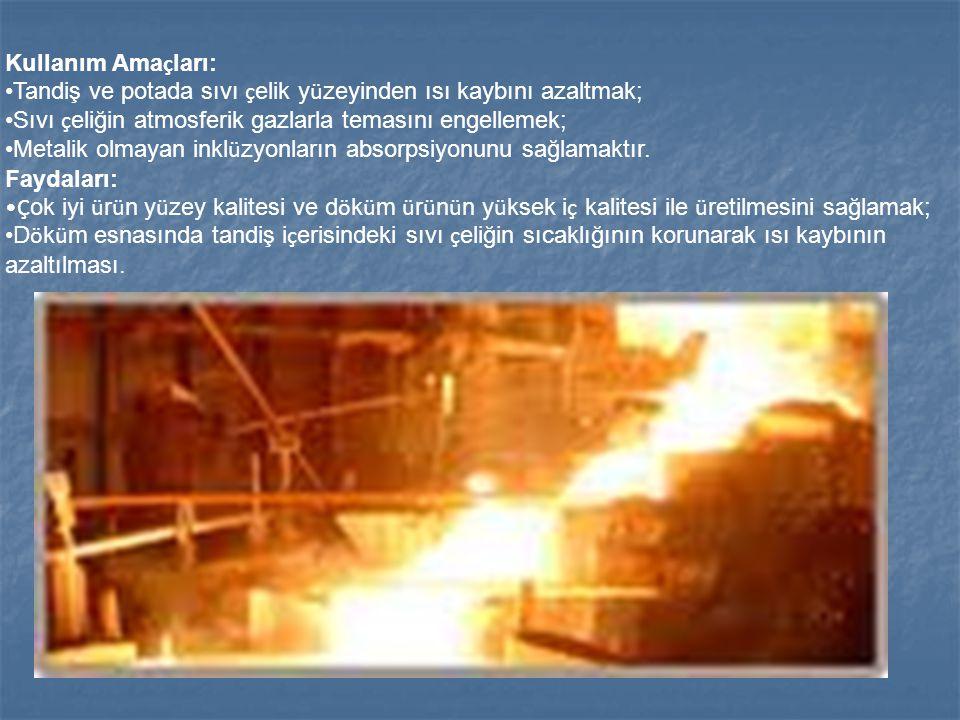 Kullanım Amaçları: Tandiş ve potada sıvı çelik yüzeyinden ısı kaybını azaltmak; Sıvı çeliğin atmosferik gazlarla temasını engellemek;