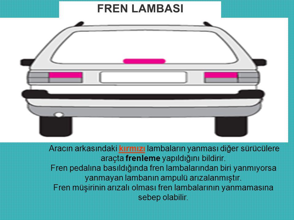 FREN LAMBASI Aracın arkasındaki kırmızı lambaların yanması diğer sürücülere araçta frenleme yapıldığını bildirir.