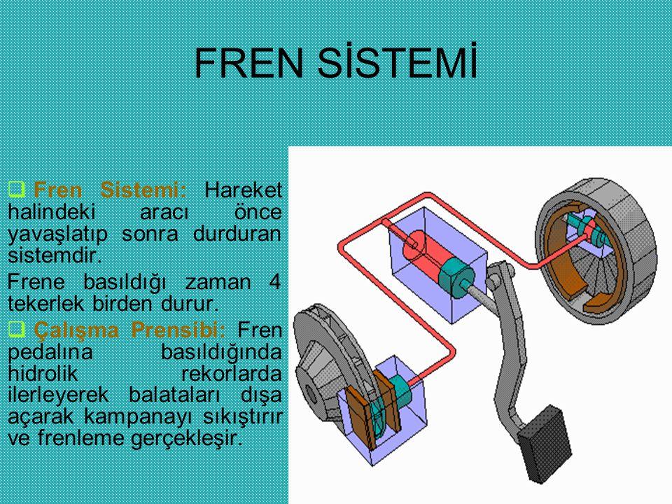 FREN SİSTEMİ Fren Sistemi: Hareket halindeki aracı önce yavaşlatıp sonra durduran sistemdir. Frene basıldığı zaman 4 tekerlek birden durur.