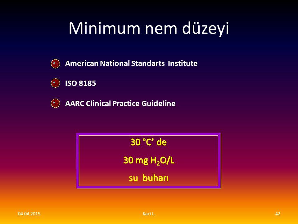 Minimum nem düzeyi 30 °C' de 30 mg H2O/L su buharı