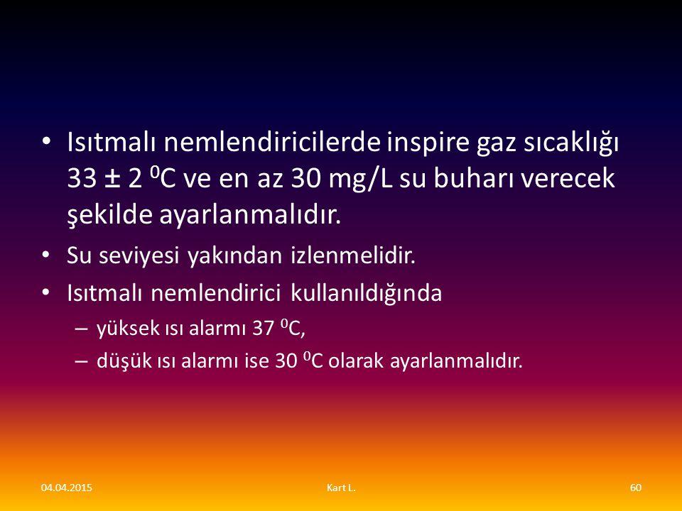 Isıtmalı nemlendiricilerde inspire gaz sıcaklığı 33 ± 2 0C ve en az 30 mg/L su buharı verecek şekilde ayarlanmalıdır.