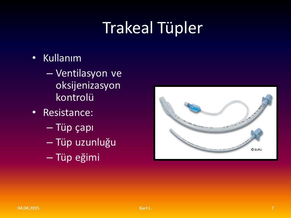 Trakeal Tüpler Kullanım Ventilasyon ve oksijenizasyon kontrolü