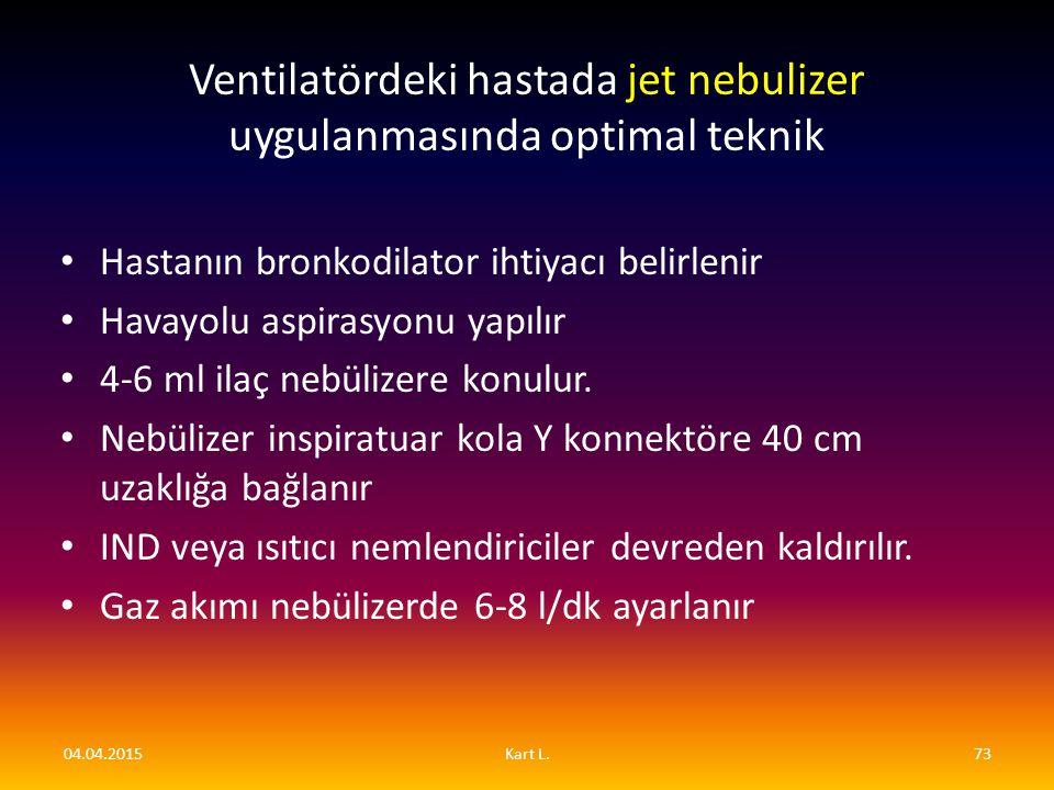Ventilatördeki hastada jet nebulizer uygulanmasında optimal teknik