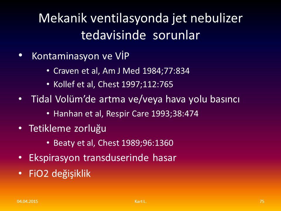 Mekanik ventilasyonda jet nebulizer tedavisinde sorunlar