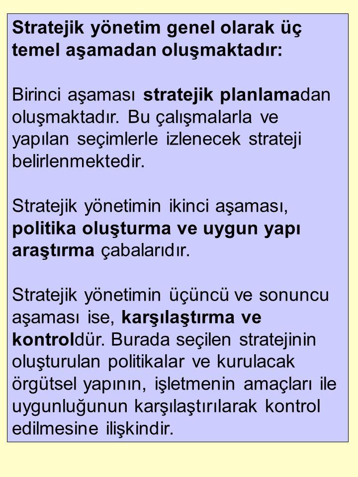 Stratejik yönetim genel olarak üç temel aşamadan oluşmaktadır: