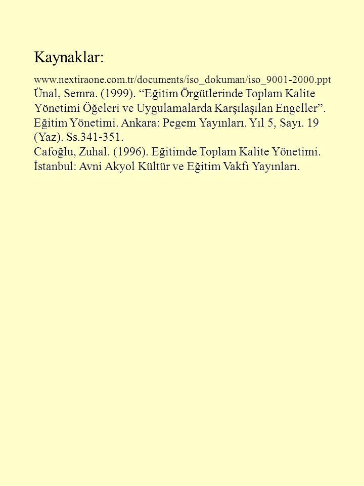 Kaynaklar: www.nextiraone.com.tr/documents/iso_dokuman/iso_9001-2000.ppt.