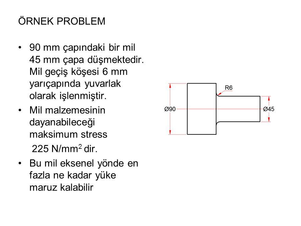 ÖRNEK PROBLEM 90 mm çapındaki bir mil 45 mm çapa düşmektedir. Mil geçiş köşesi 6 mm yarıçapında yuvarlak olarak işlenmiştir.