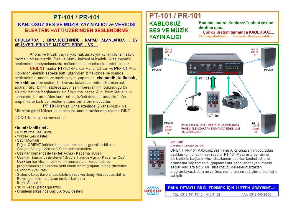 PT-101 / PR-101 PT-101 / PR-101 KABLOSUZ SES VE MÜZİK YAYIN ALICI ve VERİCİSİ.
