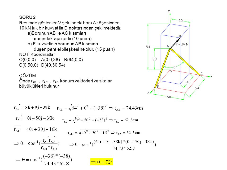 SORU 2 Resimde gösterilen V şeklindeki boru A köşesinden 10 kN luk bir kuvvet ile D noktasından çekilmektedir.