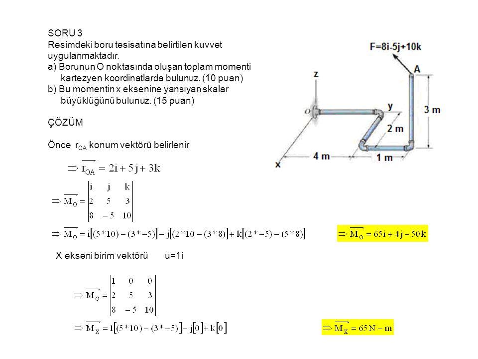 SORU 3 Resimdeki boru tesisatına belirtilen kuvvet. uygulanmaktadır. a) Borunun O noktasında oluşan toplam momenti.