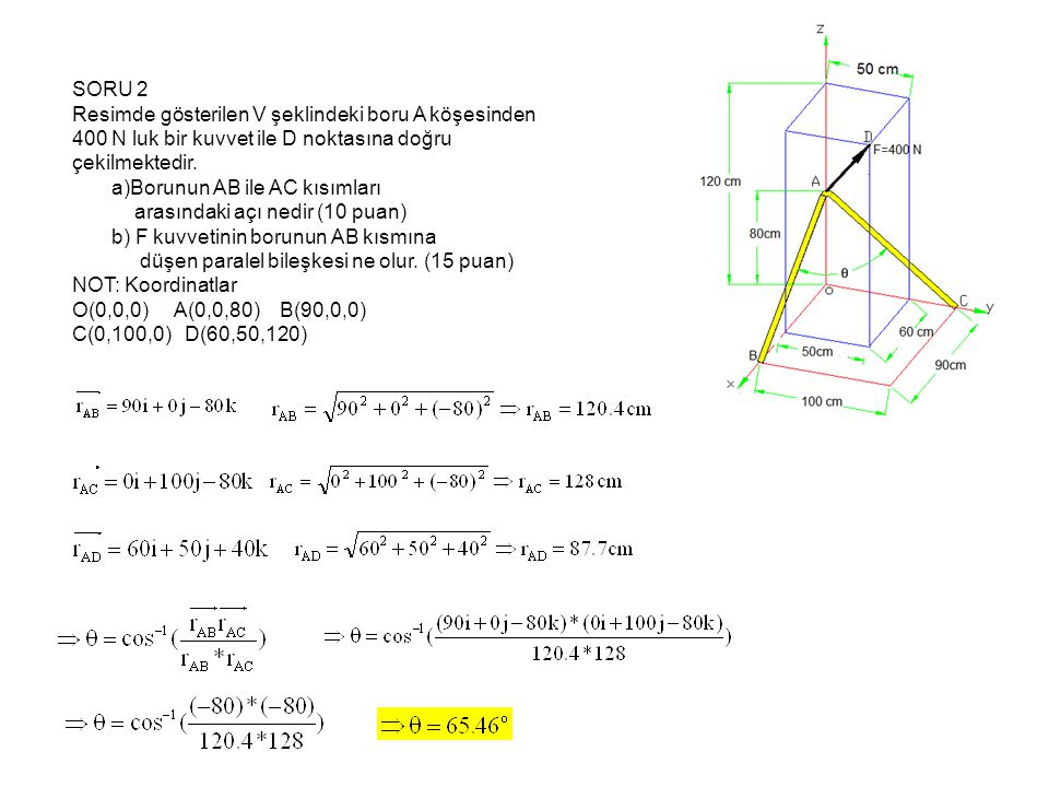 SORU 2 Resimde gösterilen V şeklindeki boru A köşesinden 400 N luk bir kuvvet ile D noktasına doğru çekilmektedir.