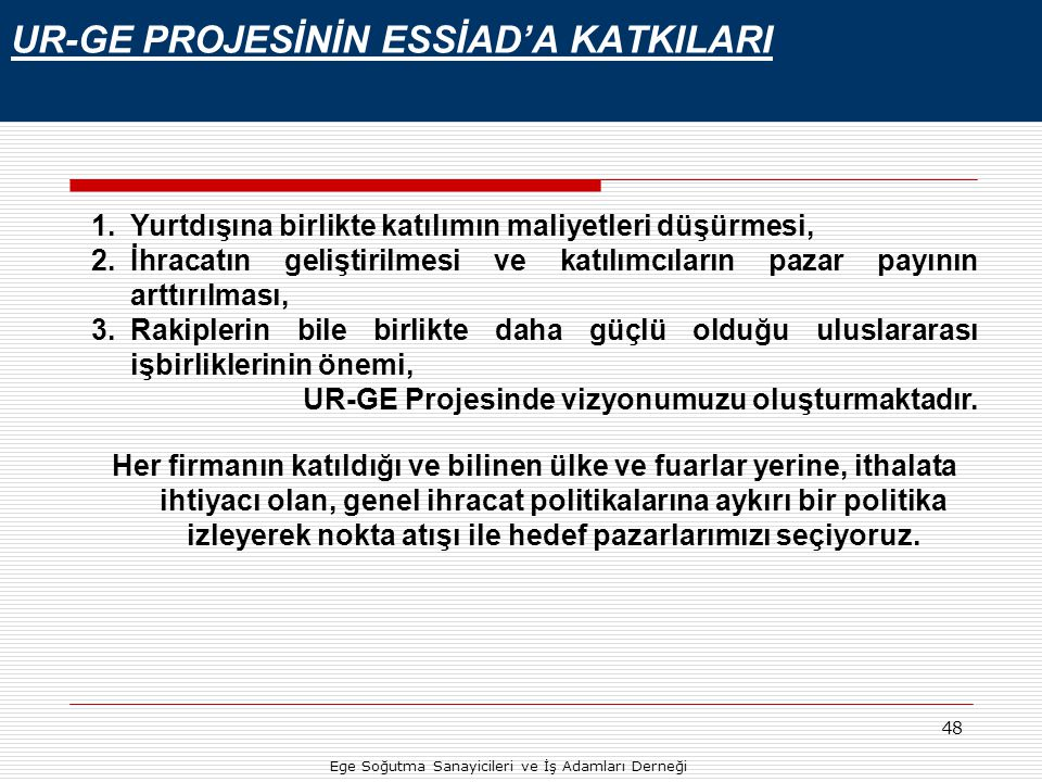 UR-GE PROJESİNİN ESSİAD'A KATKILARI