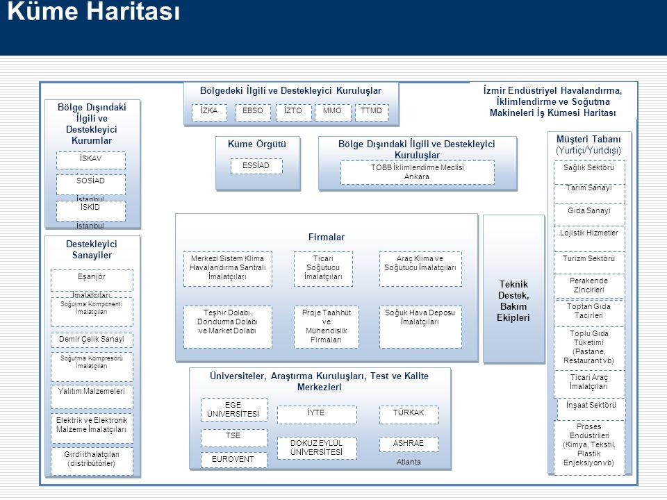 Küme Haritası Firmalar Bölgedeki İlgili ve Destekleyici Kuruluşlar