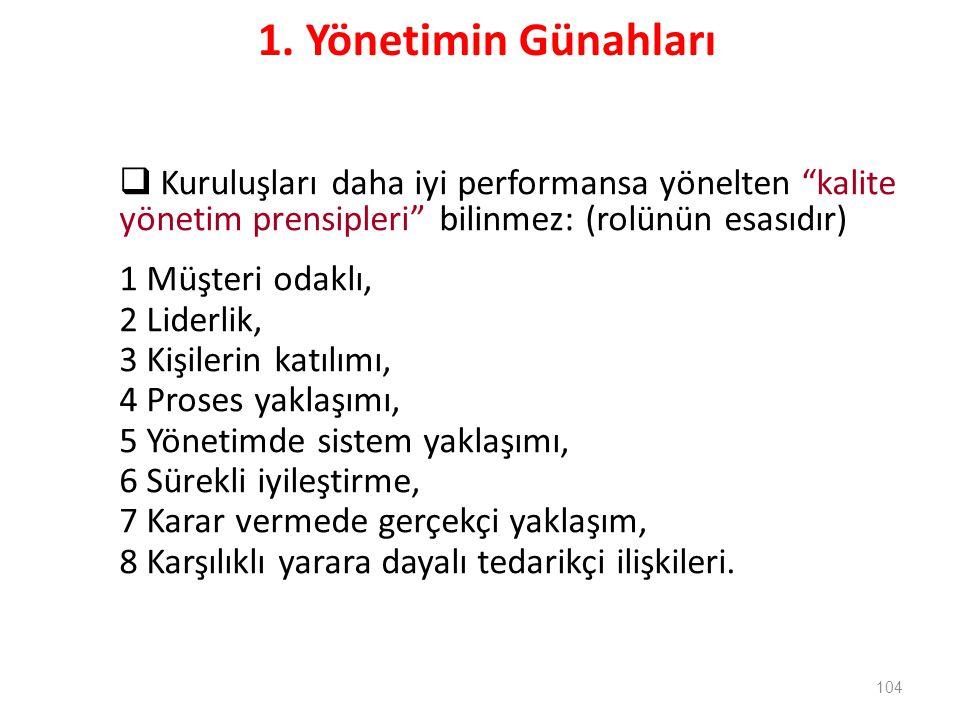 1. Yönetimin Günahları Kuruluşları daha iyi performansa yönelten kalite yönetim prensipleri bilinmez: (rolünün esasıdır)