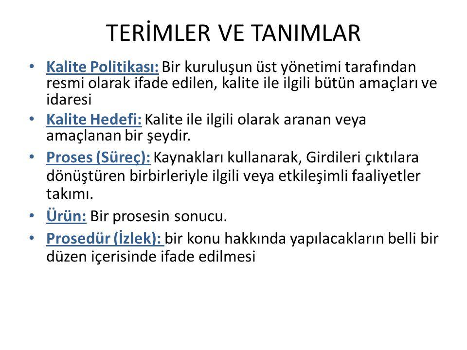 TERİMLER VE TANIMLAR Kalite Politikası: Bir kuruluşun üst yönetimi tarafından resmi olarak ifade edilen, kalite ile ilgili bütün amaçları ve idaresi.