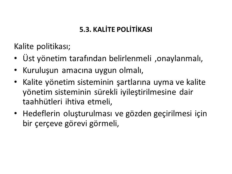 5.3. KALİTE POLİTİKASI Kalite politikası;
