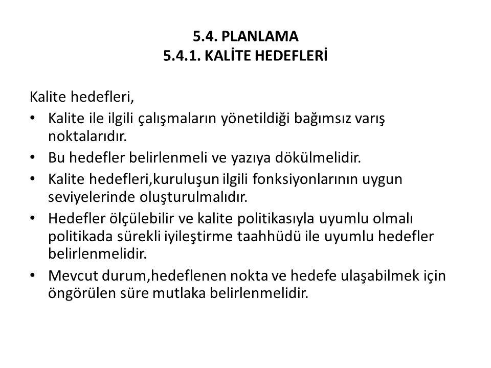 5.4. PLANLAMA 5.4.1. KALİTE HEDEFLERİ
