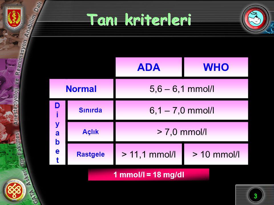 Tanı kriterleri ADA WHO Normal 5,6 – 6,1 mmol/l 6,1 – 7,0 mmol/l
