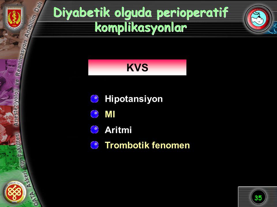 Diyabetik olguda perioperatif komplikasyonlar