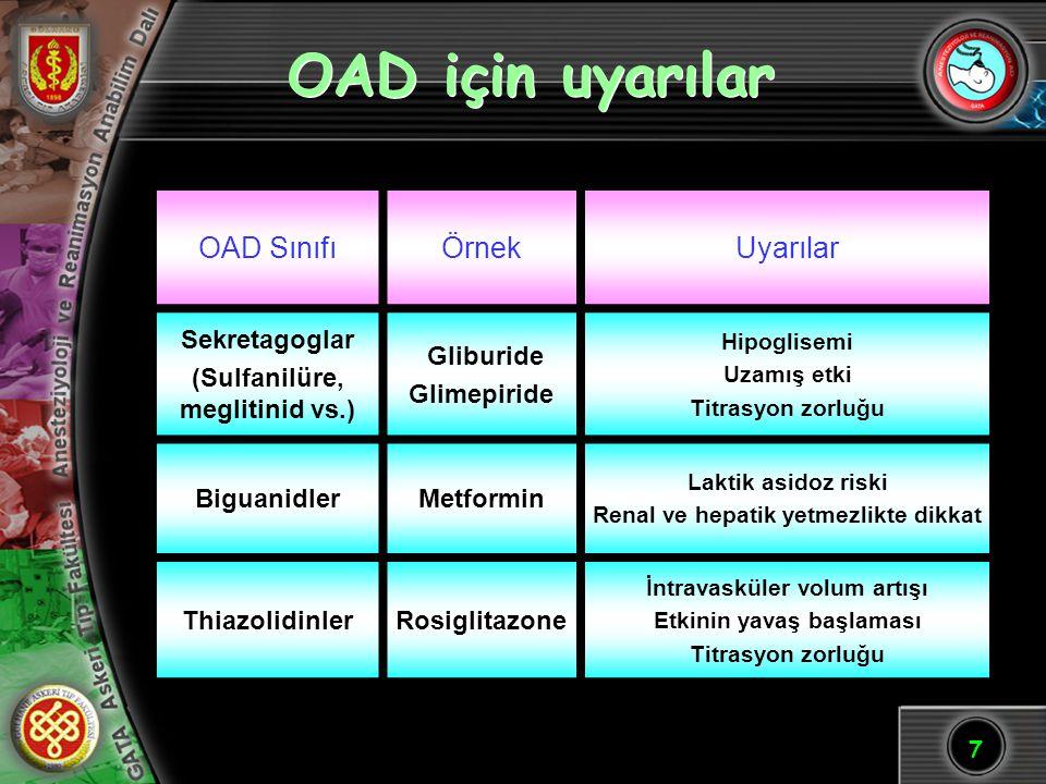 OAD için uyarılar OAD Sınıfı Örnek Uyarılar Sekretagoglar
