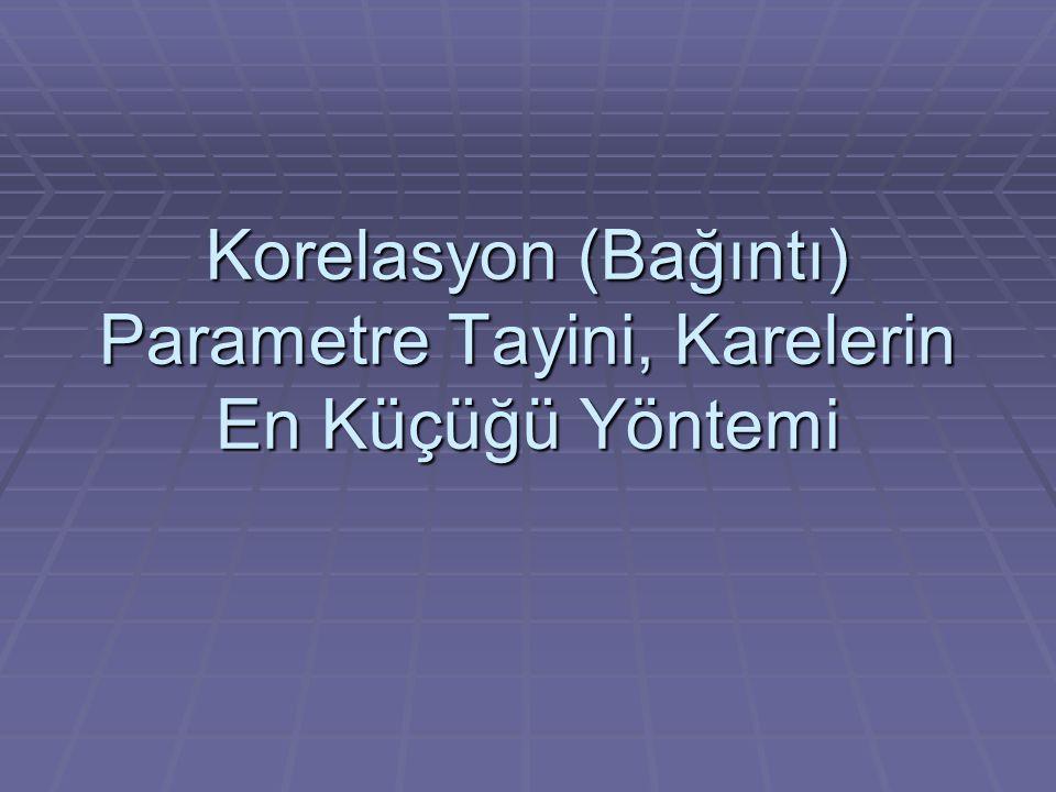 Korelasyon (Bağıntı) Parametre Tayini, Karelerin En Küçüğü Yöntemi