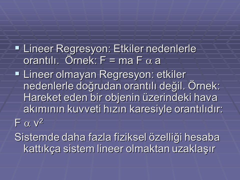 Lineer Regresyon: Etkiler nedenlerle orantılı. Örnek: F = ma F a a