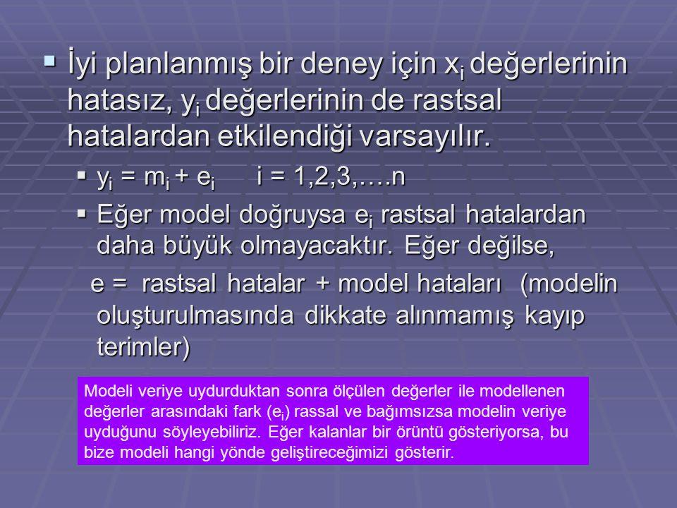 İyi planlanmış bir deney için xi değerlerinin hatasız, yi değerlerinin de rastsal hatalardan etkilendiği varsayılır.