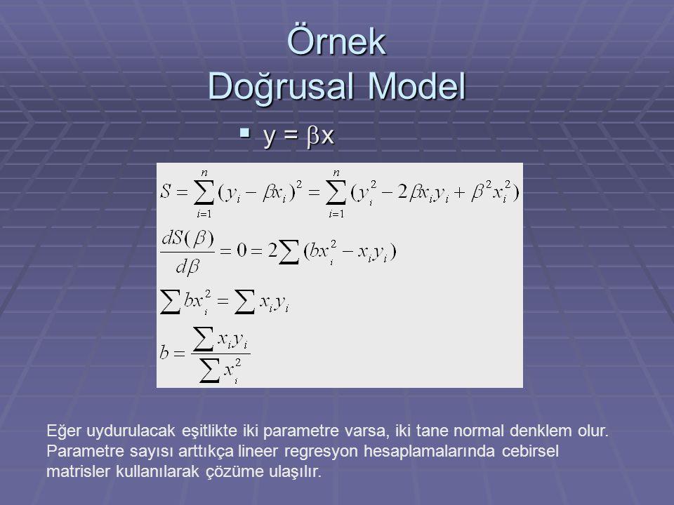 Örnek Doğrusal Model y = bx
