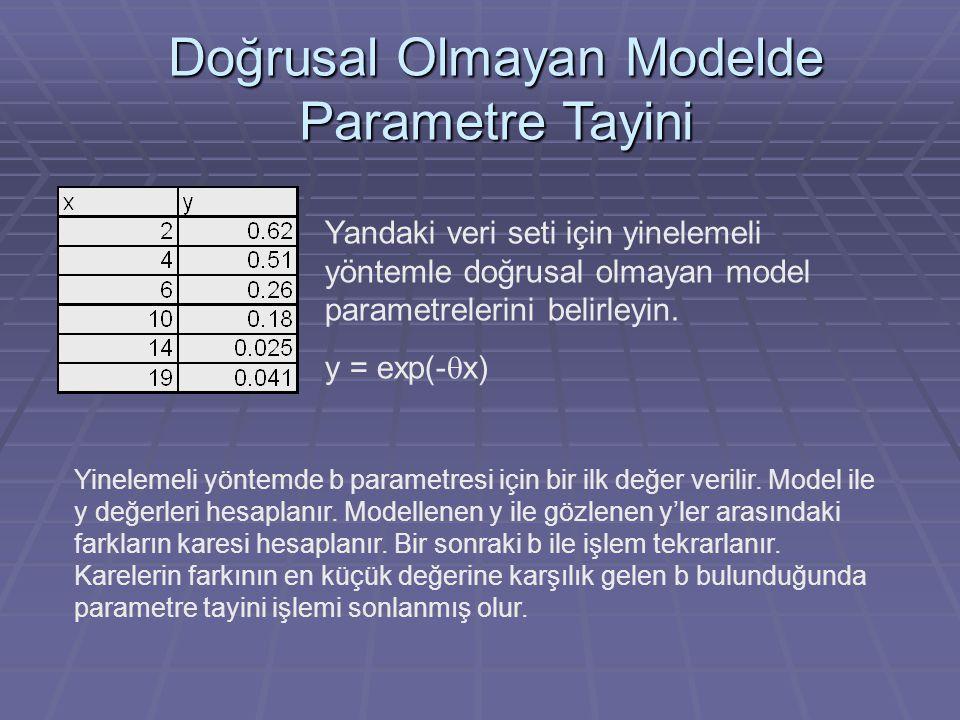 Doğrusal Olmayan Modelde Parametre Tayini