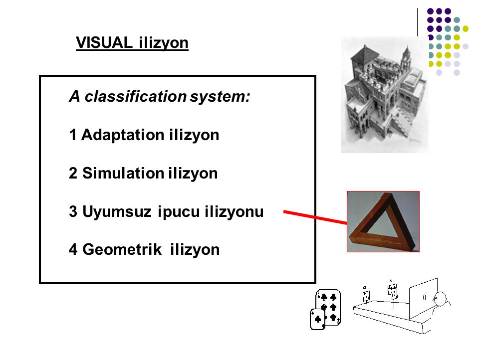 VISUAL ilizyon A classification system: 1 Adaptation ilizyon. 2 Simulation ilizyon. 3 Uyumsuz ipucu ilizyonu.